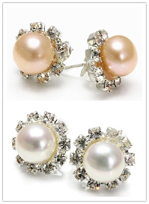 Hot Sell New - New 8-8.5mm Natural White/Pink Akoya Freshwater Pearl Sterling Silver Stud Earrings