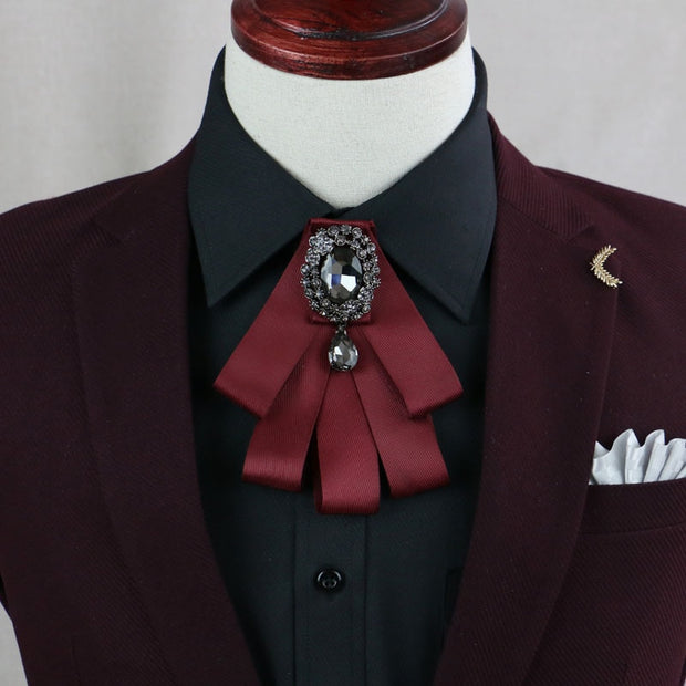 I-Remiel High Grade Rhinestone Men's Shirt Collar Brooches Pins Bow Tie Brooch For Presided Over Groom Suit Wedding Accessories