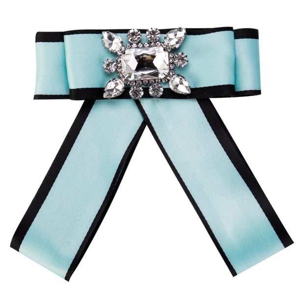 Meidi Grosgrain Bow Brooches Pins Necktie Rhinestone Flower Brooches For Women Clothing Dress Corsage Gift Fashion Jewelry