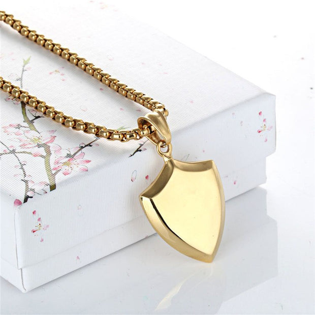 Necklace Protect Me Saint Shield Protection Charm Retro Couple Pendants Necklaces Shield Pendant Jewelry For Woman