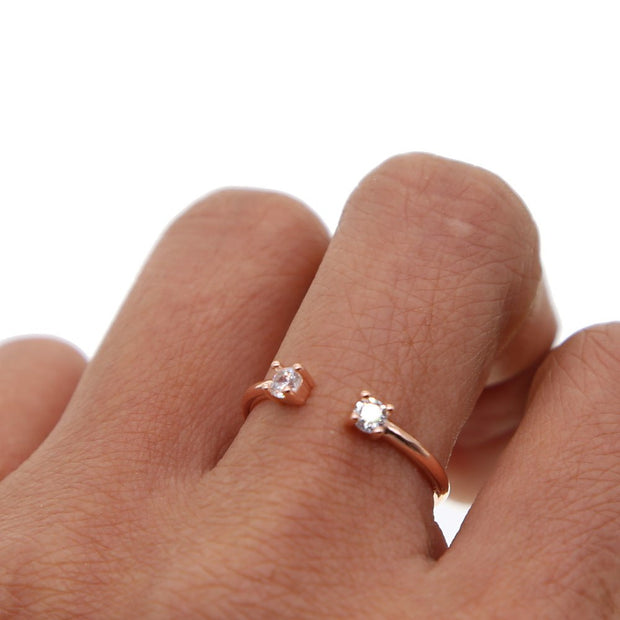 Real 925 Silver Midi Double Cz Paved Open Finger Rings For Women Kunckle Ring Jewelry 2018valentine Gift Delicate Tiny Gave Ring