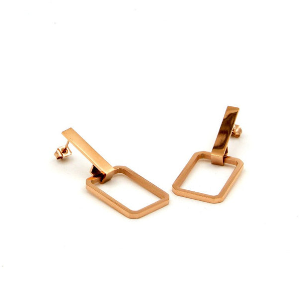 Square Shape Hollow Out Trendy Gold Sliver Color Earrings For Women Stainless Steel Jewelry Fashion Earring Dangle Drop Earring