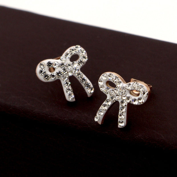 Stainless Steel Sparkling Bow Earrings With Clear CZ For Women Compatible With Jewelry Gift Earing For Woman Jewelry