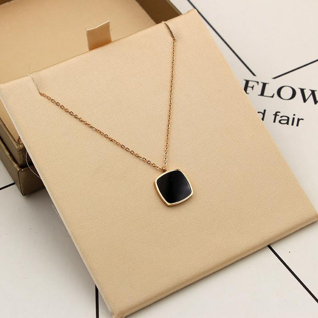 Stainless Steel Big Black Square Crystal Pendant Necklace Fashion Chain Long Necklaces & Pendants Jewelry For Women