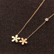 Stainless Steel Flower With Crystal Long Chain Necklace Jewelry Accessories Gold Silver Color Necklaces Jewelery Pendant