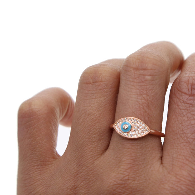 Top Quality Blue Eye Lucky Girl Gift Open Adjust Rose Gold Color Micro Pave Clear Cz Evil Eye Turkish Fashion Ring Jewelry