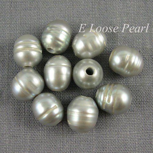 Wholesale Freshwater Pearl Gray Rice Large Hole Pearl 10-10.5*11-12mm 10Pcs 2.5mm Hole