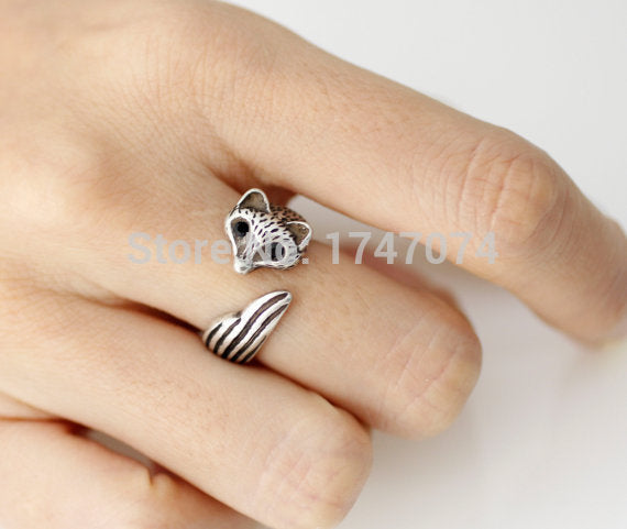 Wholesale Retro Fox Ring Adjustable Fox Animal Rings Jewelry Available Color (Antique Silver, Gold ) Free Shipping12pcs/lot