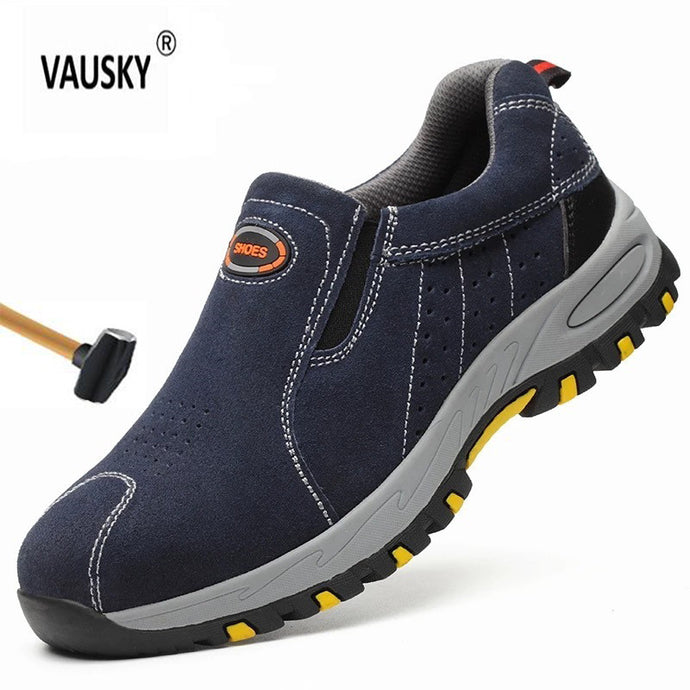 Men 2019 Steel Nose Safety Work Shoes Fashion Summer Breathable Slip On Casual Boots Mens Labor Puncture Proof Shoe
