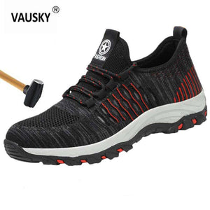 VAUSKY Safety Work Shoes Boots for Men Male Protective Steel Toe Boots Anti-Smashing Indestructible Shoes Construction Sneakers