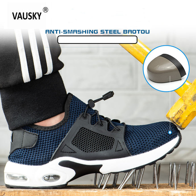 VAUSKY Men Safety Work Shoes Men Outdoor Steel Toe Footwear Military Combat Ankle Boots Indestructible Stylish Breathable Sneake