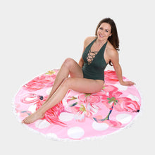 Load image into Gallery viewer, Flamingo Tassel Towel