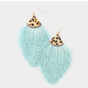 Leather Leopard and tassel earring
