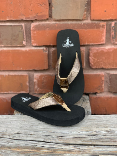 Shawn - Gold Youth Sandals
