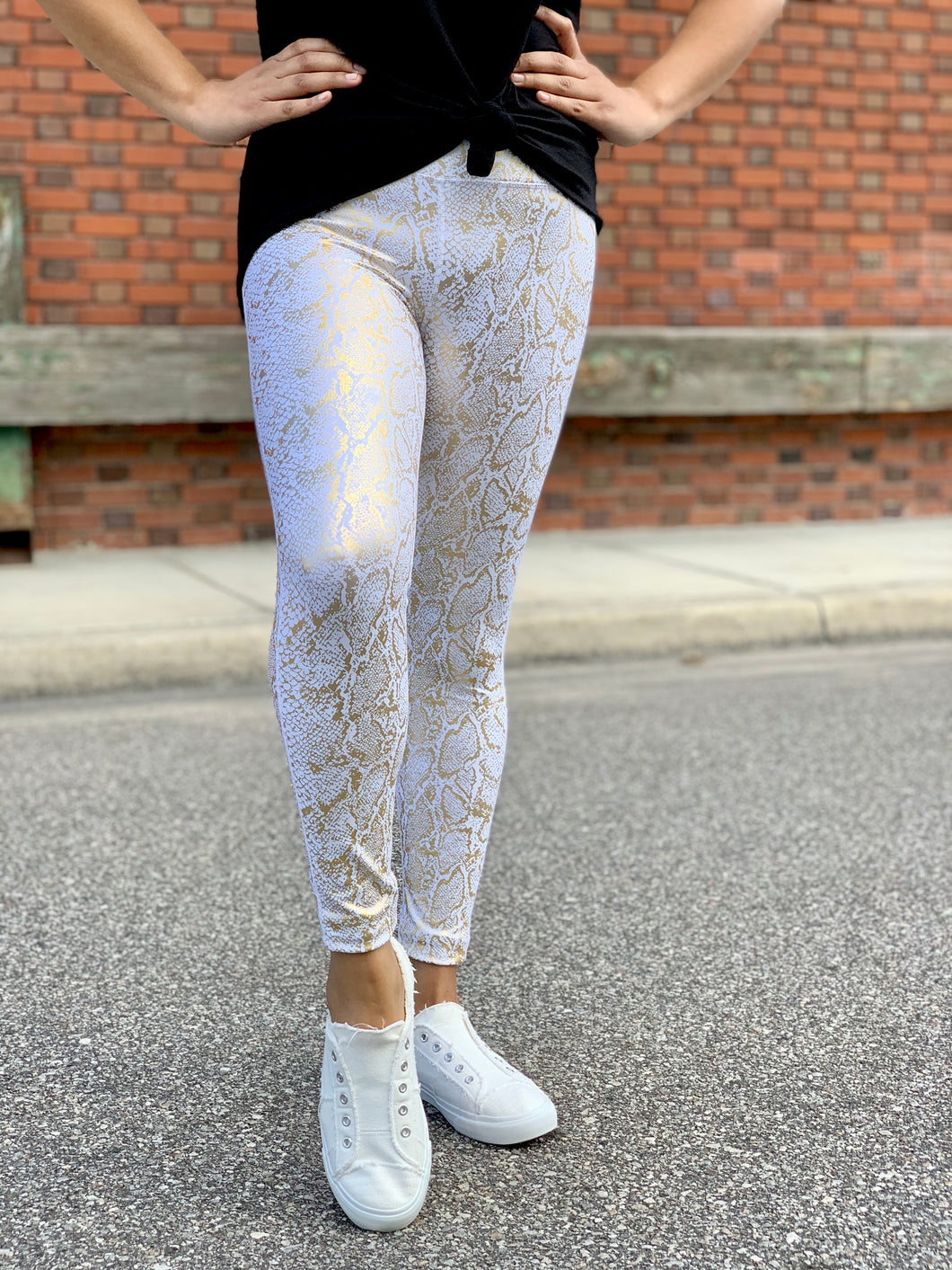 Gold Snake Print - Leggings