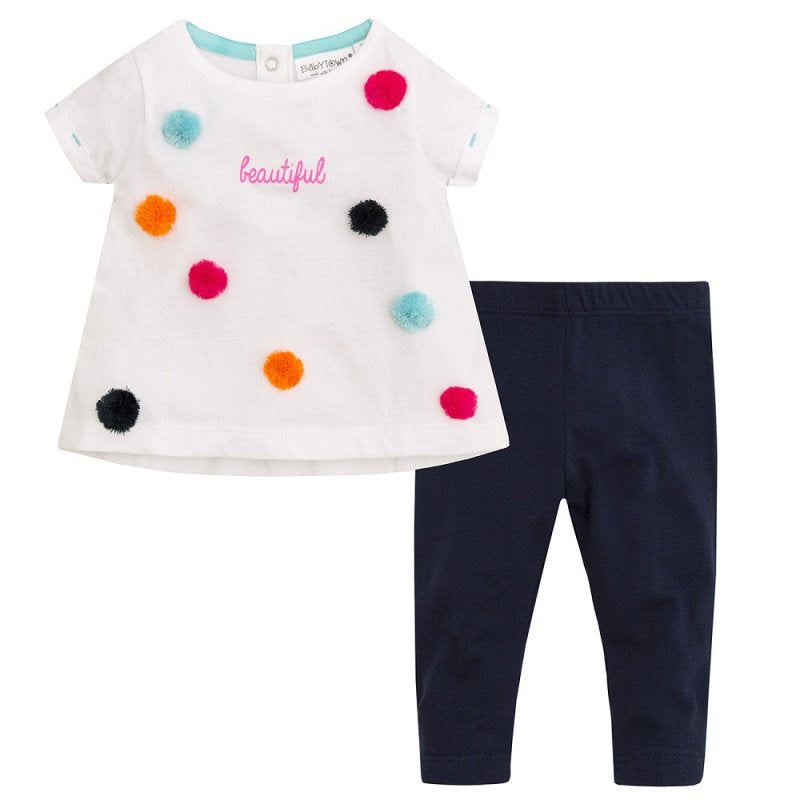 POM POM TOP & LEGGING SET FOR BABY GIRLS - instige.myshopify.com