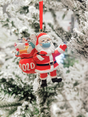 Christmas 2020 Tree Ornament PPE Santa in Face Mask