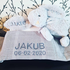 Personalised Gift Bundle - Bunny & Cellular Blanket