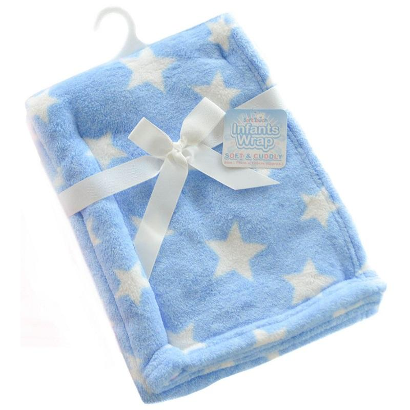 Blue Star Printed Coral Fleece Wrap - instige.myshopify.com