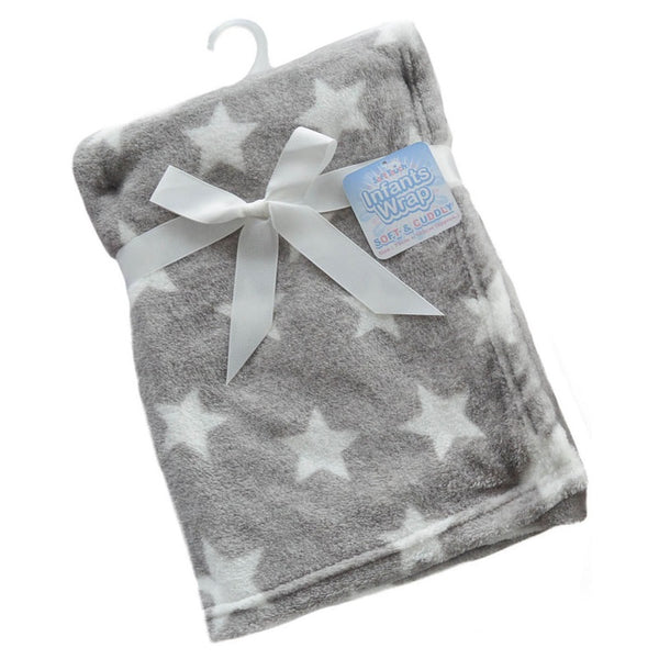 Grey Star Printed Coral Fleece Wrap - instige.myshopify.com