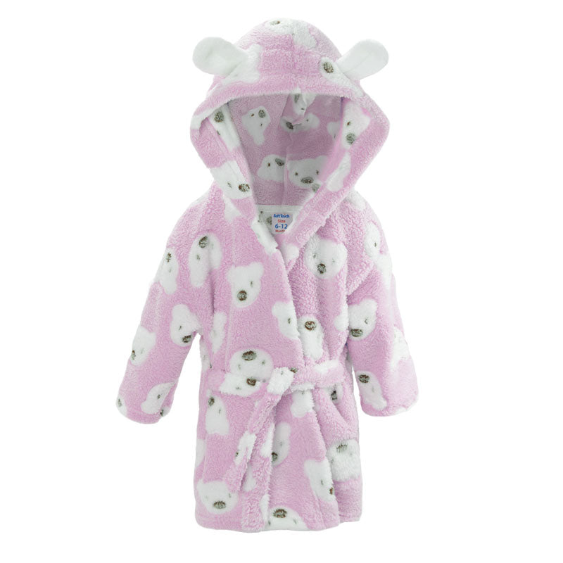 Pink Teddy Print Hooded Robe (6-24 Months) - instige.myshopify.com