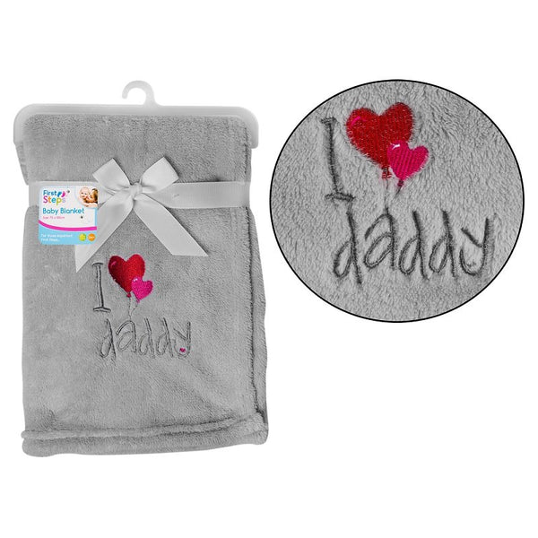 SUPERSOFT I ♥ DADDY FLEECE BABY BLANKET - instige.myshopify.com