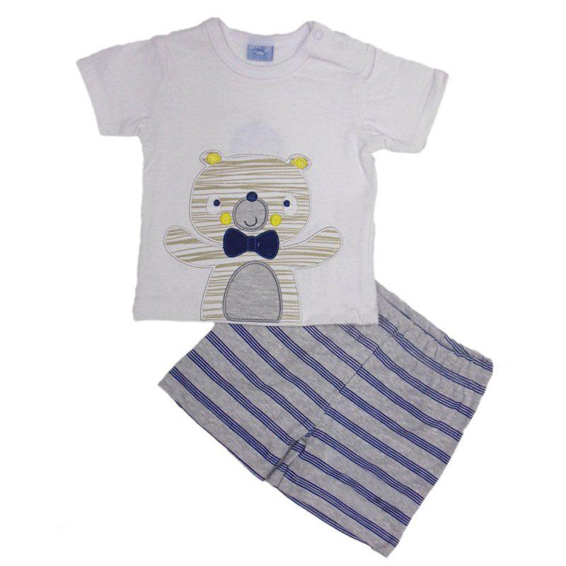 Baby Boy White Blue Puppy All in One Romper Outfit Mock T-shirt//Shorts NB-3-6