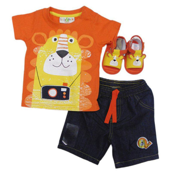 SANDALS & 3D BEAR T-SHIRT, TWILL DENIM SHORT SET (3-18 MONTHS) - instige.myshopify.com