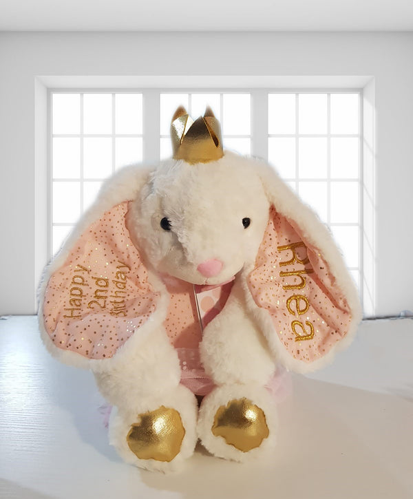 Personalised confetti bunny with long ears and golden paws