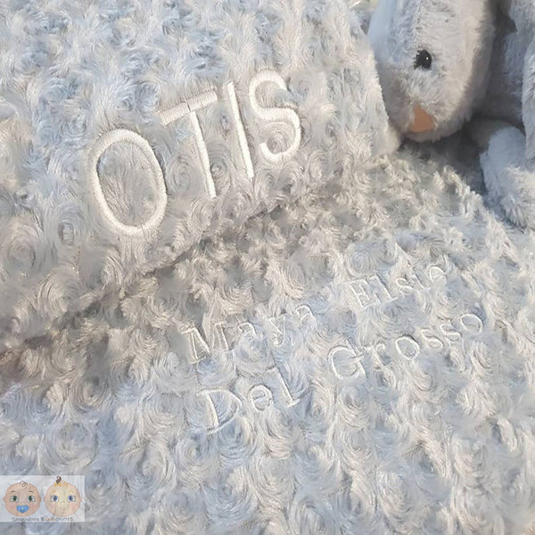 Personalised Rose Fur Baby Fleece Blanket - Grey