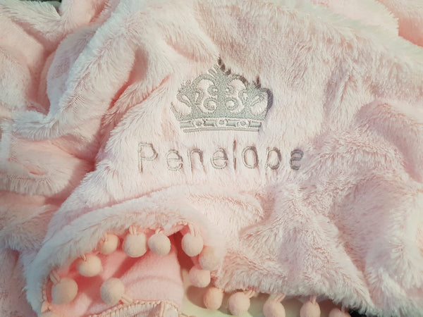 Personalised Pet blanket soft fluffy with  pom-pom