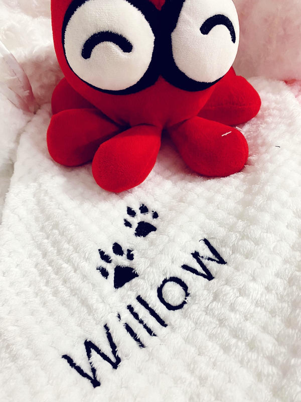 Personalised Waffle Pet Blanket white