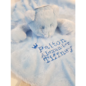 Personalised bear Comforter with ribbon tags - Blue