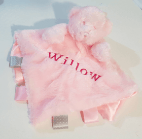 Personalised bear Comforter with ribbon tags - Pink