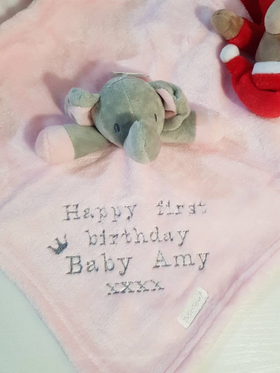 Personalised elephant comforter - Pink