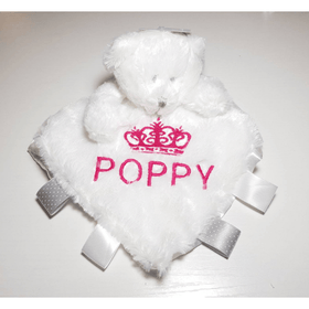Personalised bear Comforter with ribbon tags - White