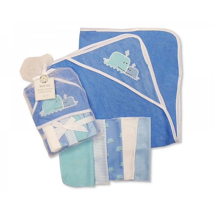 Baby Whale Hooded Towel & 5 Wash Cloths Set - instige.myshopify.com