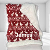 Personalised Novelty bunny fairislen christmas blanket