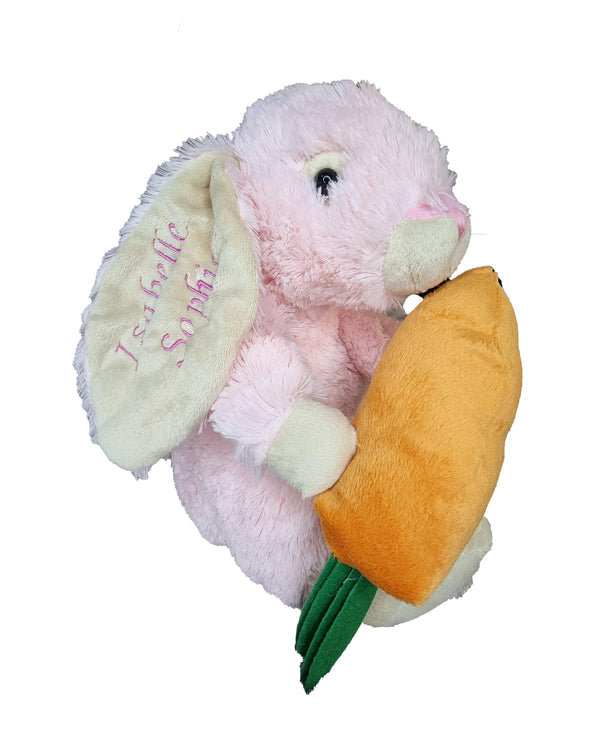 Personalised Rabbit, Pink plushie with Carrot,