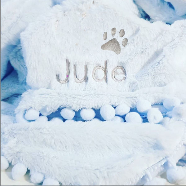 Blue POm POm pet blanket  - SNugdem Boogums