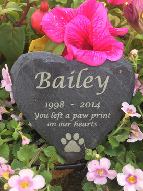 Personalised Engraved Slate Stone Heart Pet Memorial Grave Marker Plaque