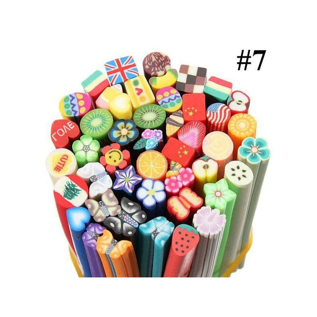 50pcs 3D Nail Art Stickers Manicure Fimo Canes Rods Sticks for DIY Nail Decoration 5 x 50 mm