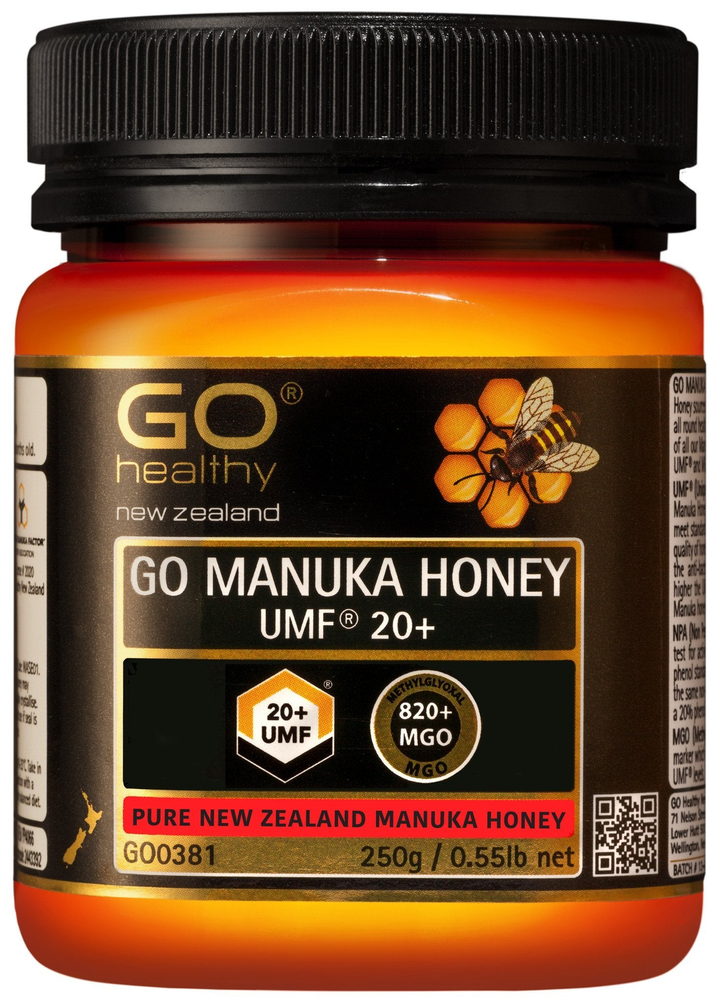 20+ UMF (820+ MGO) Go Manuka Honey 250g