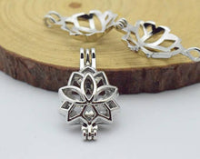 Load image into Gallery viewer, Sterling Silver Lotus Cage Pendant