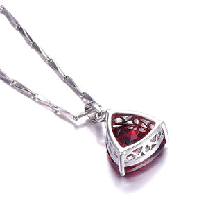 Triangle Garnet Pendant With Chain
