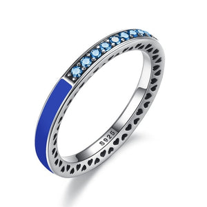 Sterling Silver Radiant Hearts Crystals And Enamel Ring- Blue