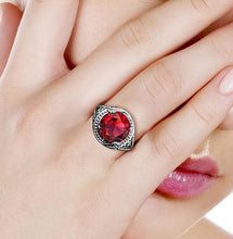 Load image into Gallery viewer, Sterling Silver Ruby Ring Vintage Art Deco Design
