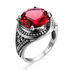 Sterling Silver Ruby Ring Vintage Art Deco Design
