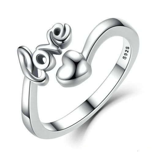 Sterling Silver I Love You Heart Woman Engagement Rimh