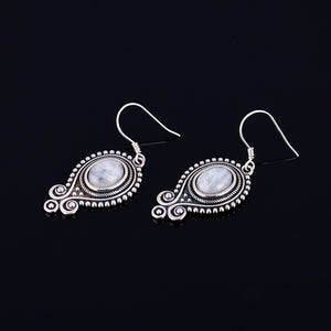 Sterling Silver Vintage Moonstone Drop Earrings